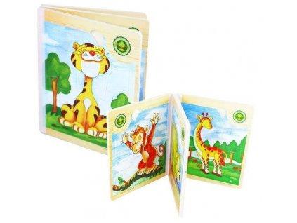 Rappa drevená kniha s puzzle Zvieratá