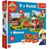 Trefl detské puzzle Požiarnik Sam 2x puzzle + memo
