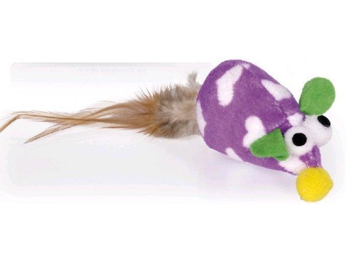 Myška plyšová fialová 15 cm