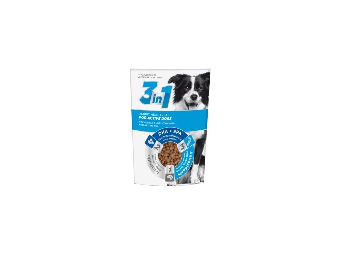 3in1 pochoutka Dog Active kralici 100g