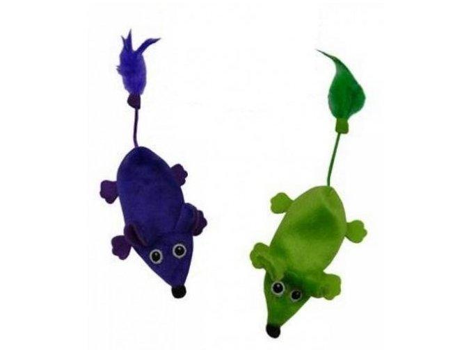 Myška nachová plochá 11cm ,zelená nebo fialová