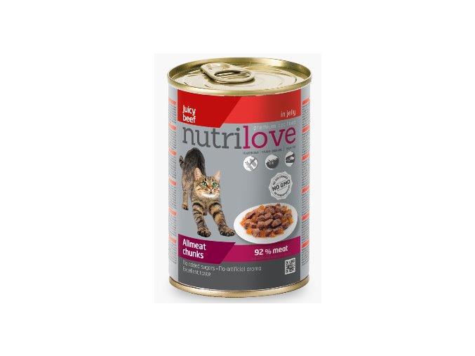 Nutrilove kočka kousky, želé hovězí 400g