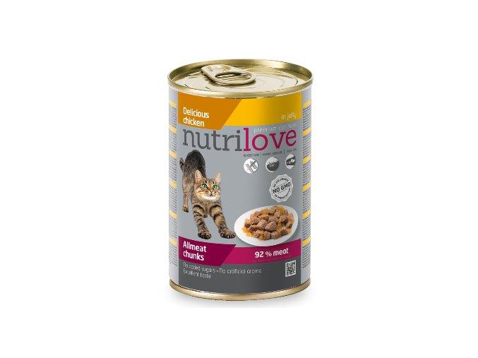 Nutrilove kočka kousky, želé kuřecí 400g