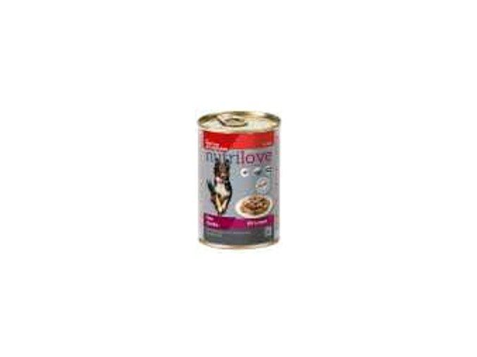 Nutrilove pes kousky,želé hovězí,játra,zelenina 415g