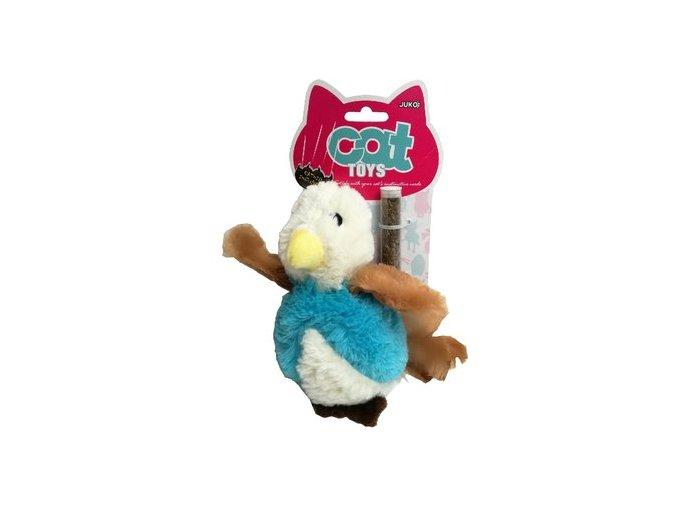 Plyš ptáček s peřím a šantou 17cm Hračka pro kočku