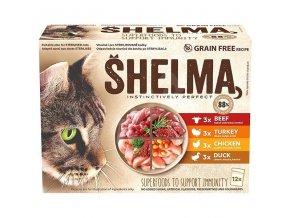 SHELMA Cat kuřecí, hovězí, krůta, kachna, kapsa 85 g (12 ks)
