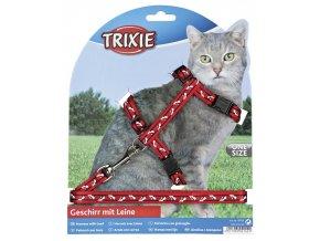 Postroj s vodítkem kočka nylon s potiskem červený 2