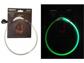 Svítící LED obojek transparentní zelena