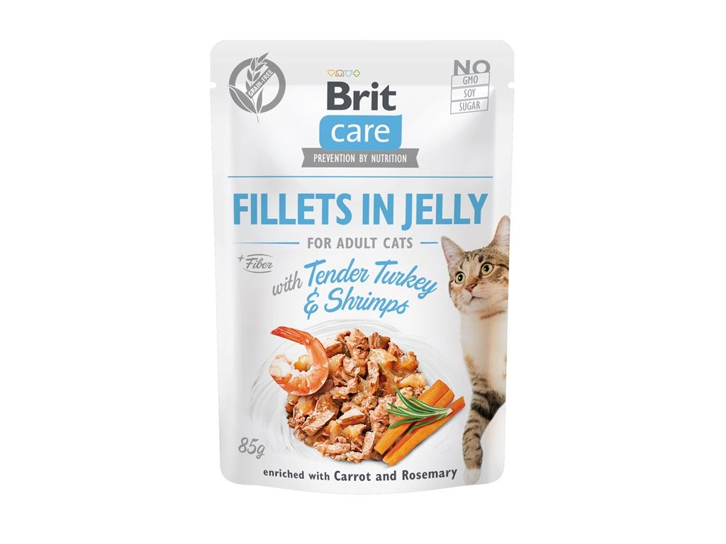 brit care cat fillets in jelly with tender turkeyshrimps 85g 4.160