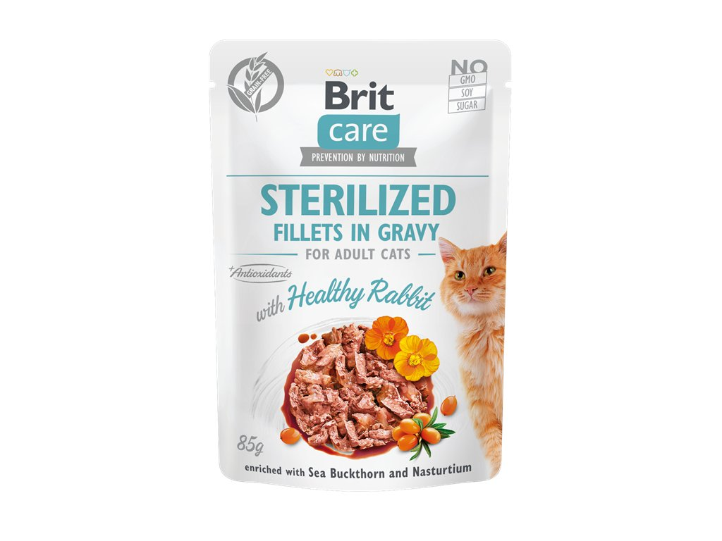 brit care cat sterilized fillets in gravy with healthy rabbit 85 g 4.060