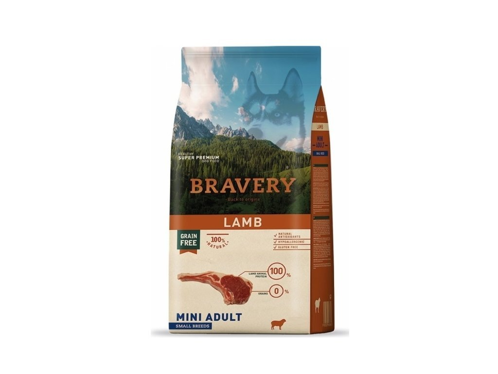 5742 bravery dog adult mini grain free lamb 2kg tenesco cz