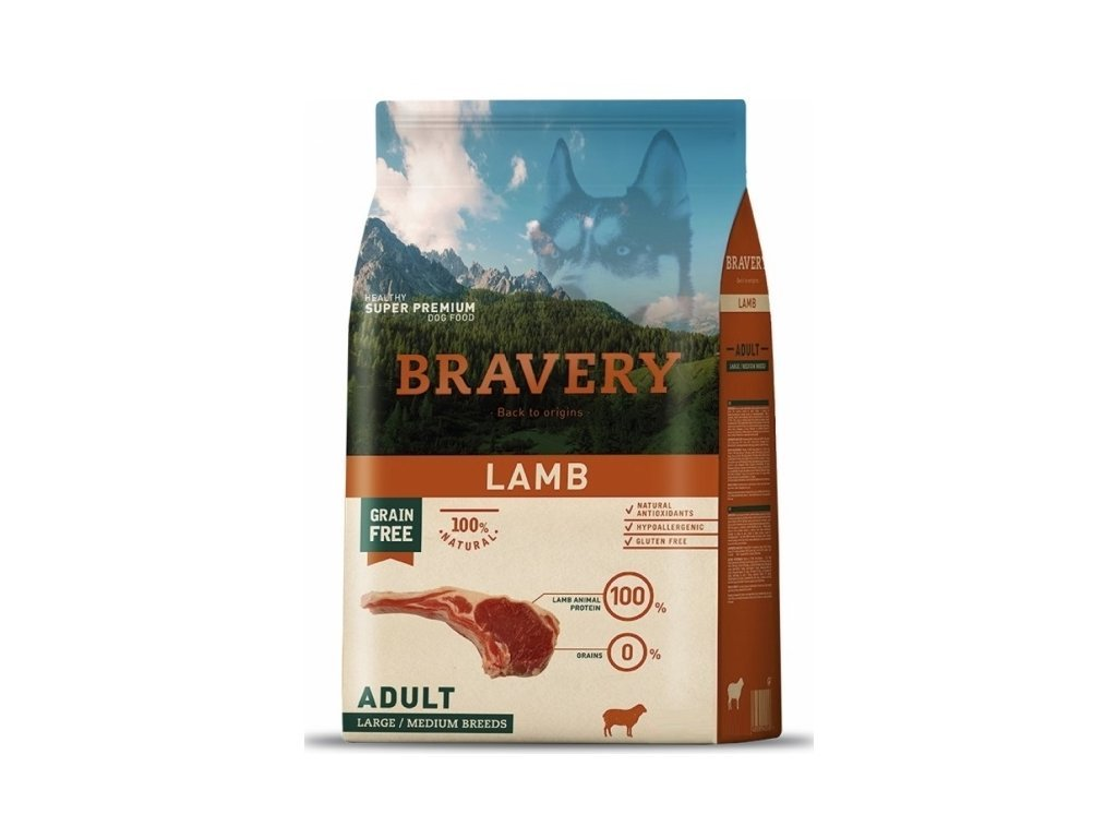 5766 bravery dog adult large medium grain free lamb 4kg tenesco cz