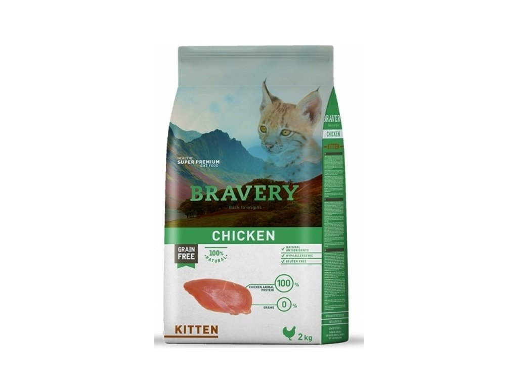 5697 bravery cat kitten grain free 2kg