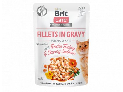 brit care cat fillets in gravy with tender turkeysavory salmon 85g 4.062
