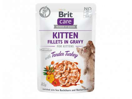 brit care cat kitten fillets in gravy with tender turkey 85g 4.065