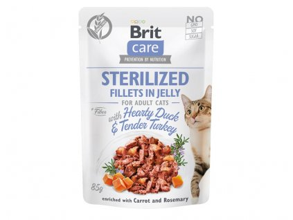 brit care cat sterilized. fillets in jelly with hearty ducktender turkey 85g 4.157