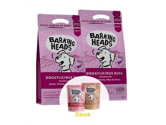 BARKING HEADS Doggylicious Duck 2 x 12kg  + 2 x BARKING HEADS kapsička 300g