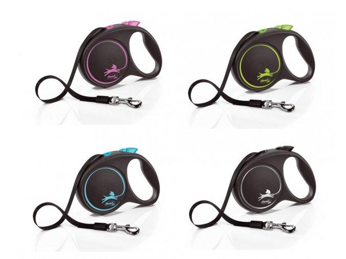 Vodítko FLEXI Black Design S pásek 5m/15kg