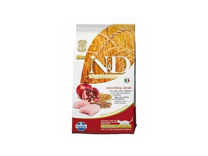 N&D LG CAT Neutered Chicken & Pomegranate 5 kg  + N&D Cat konzerva 80g