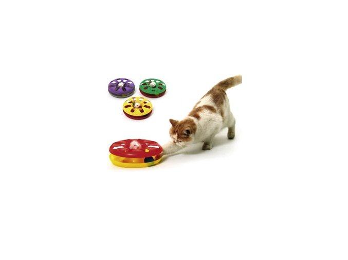 Karlie hračka kočka Talíř plast oboustr. s míčkem 24cm