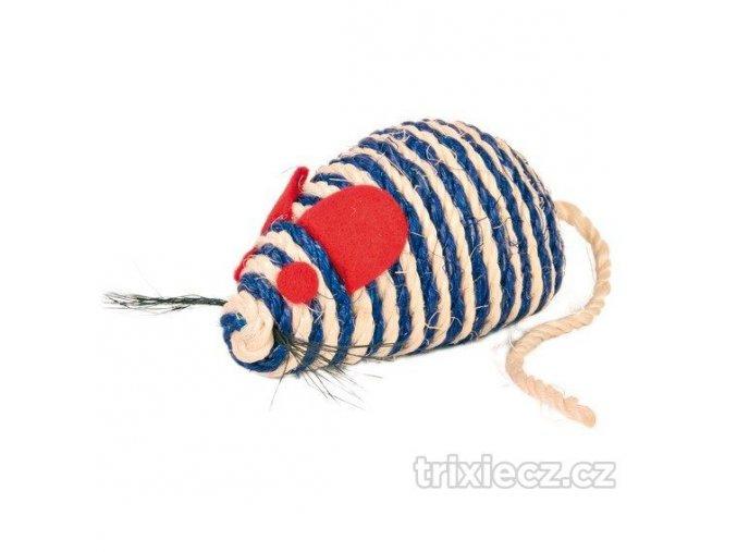 Trixie Myš se štěrchacími kuličkami uvnitř, sisal 10 cm