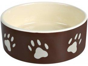 Miska keramická pes s béž.tlapkami Hnědá 1,4l 20cm