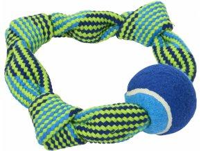 Hračka pes Bungee Kruh Double s tenisákem mod/z 20cm