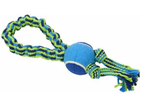 Hračka pes Bungee Smyčka s tenisákem modrá/zelená 33cm