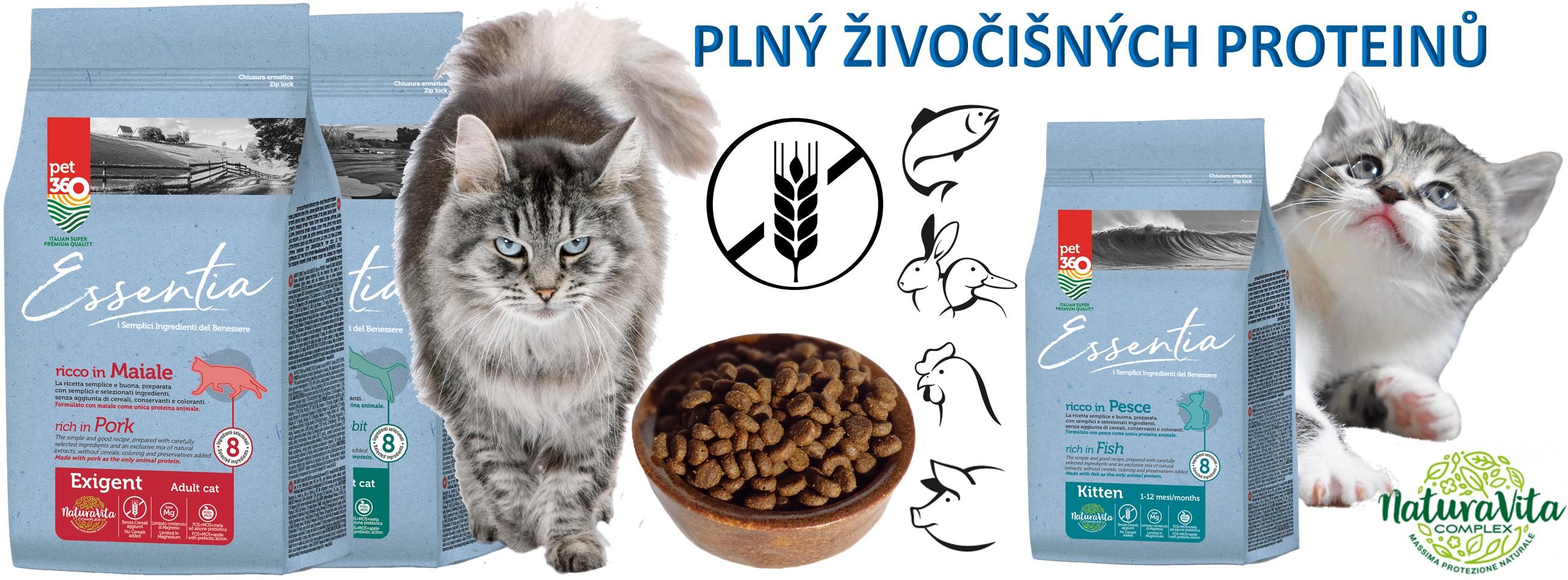 granule pro kočky bez obilovin plní živočišných proteinů
