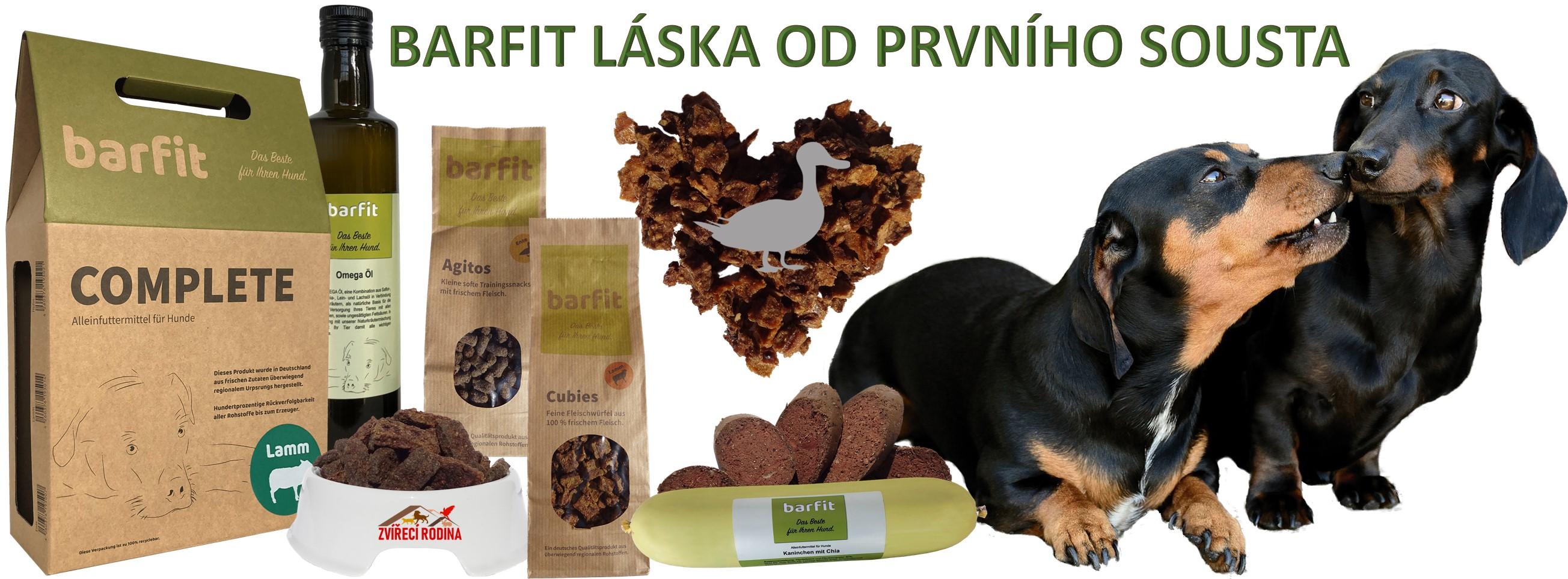 kompletní sušená barf krmiva, pamlsky a oleje pro psy
