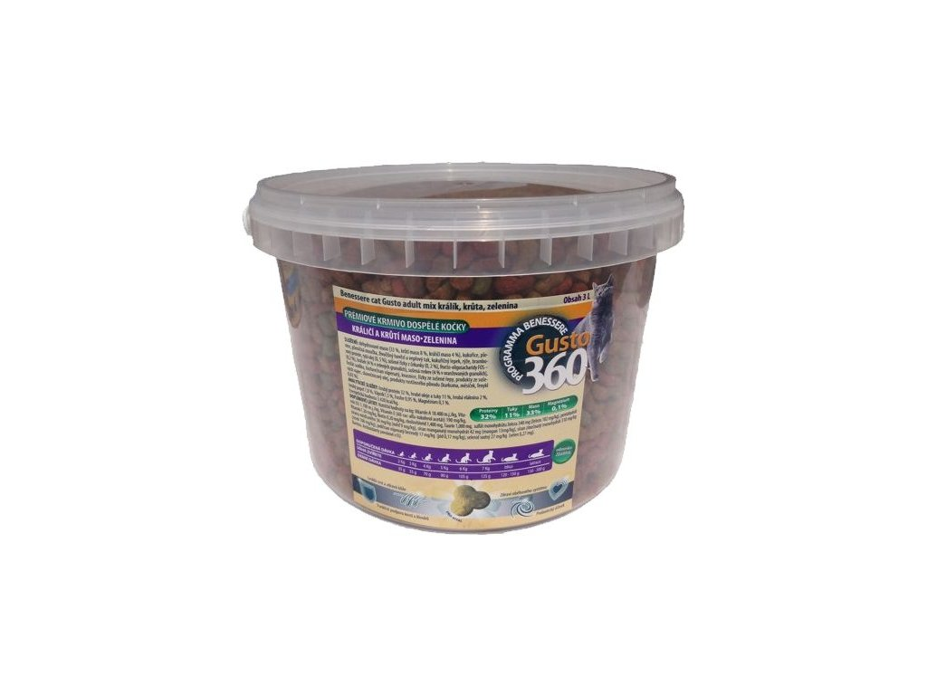 gusto cat adult mix kralik kruta zelenina 0,5kg