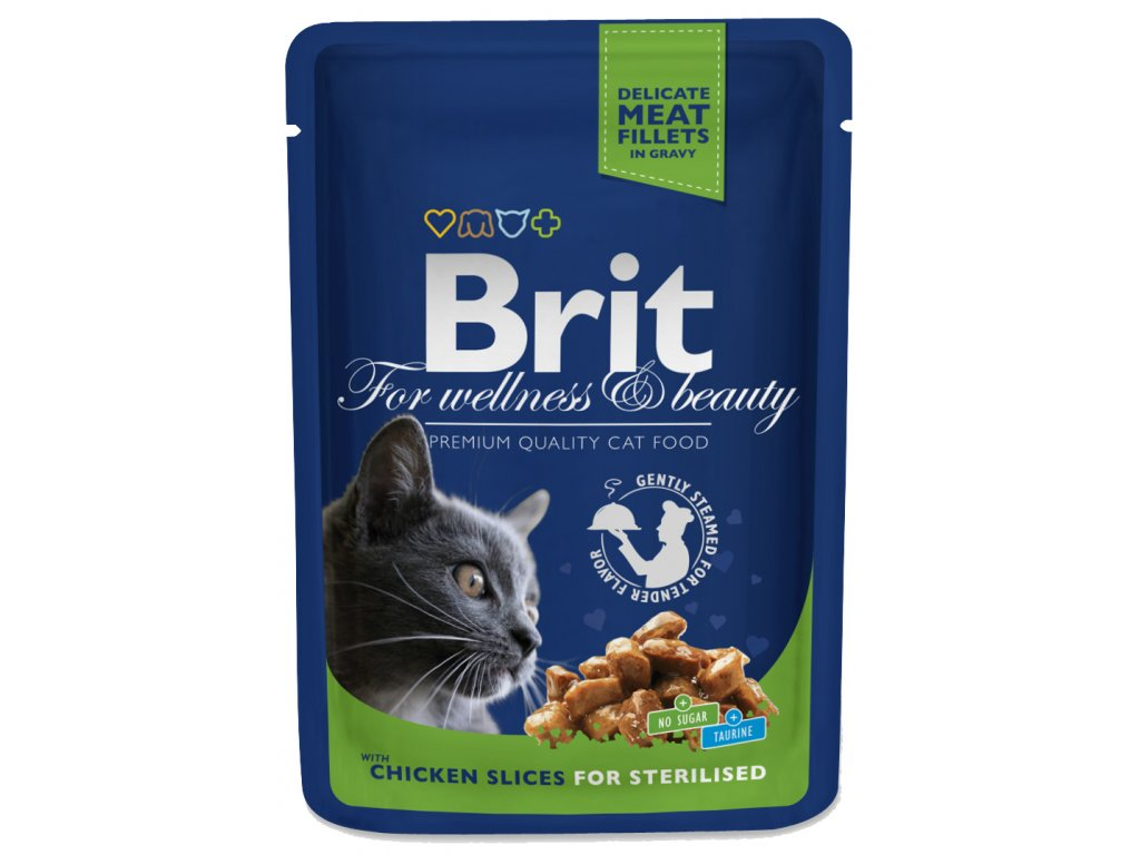 3078 brit premium cat pouches kureci kousky pro kastrovane 100g