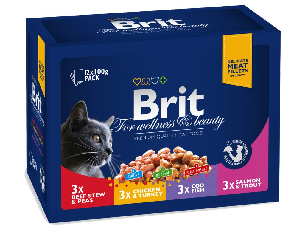 3087 brit premium cat pouches masovy a rybi mix 1200g kure hovezi treska pstruh