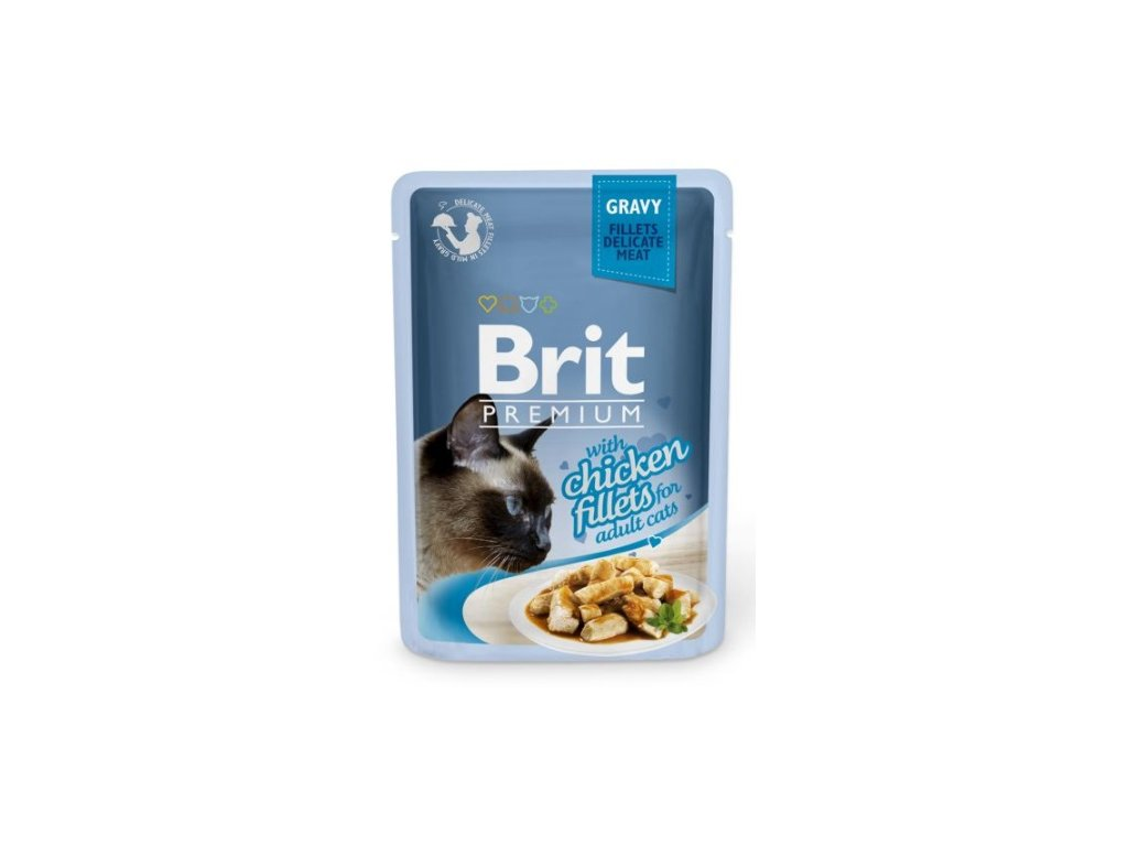 4455 brit premium cat delicate fillets in gravy with chicken 85g