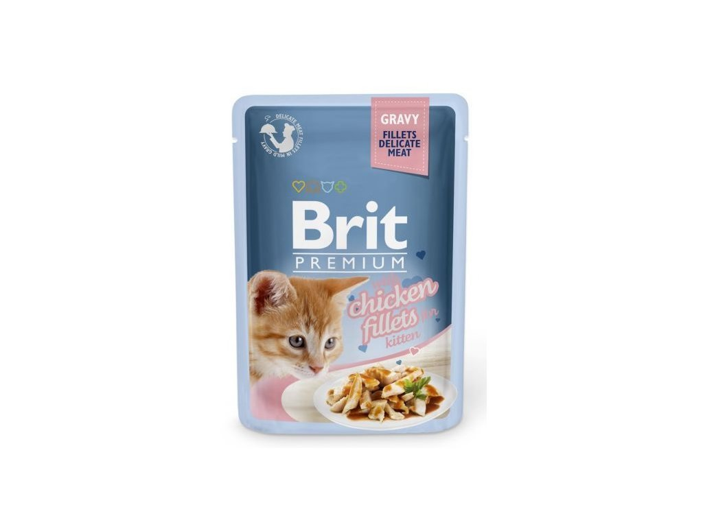 4470 brit premium cat delicate fillets in gravy chicken for kitten 85g