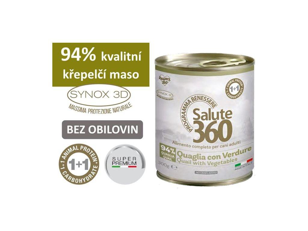 salute superpremium konzerva pes krepelka zelenina 300g