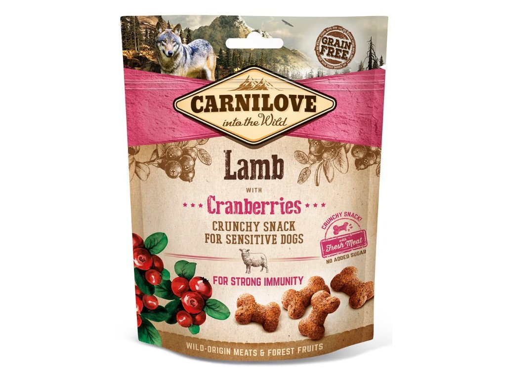 5235 carnilove dog crunchy snack lamb cranberries 200g