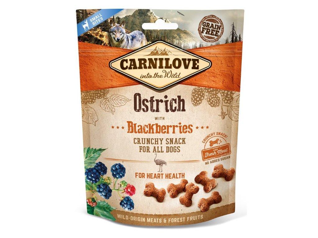 5238 carnilove dog crunchy snack ostrich blackberries 200g