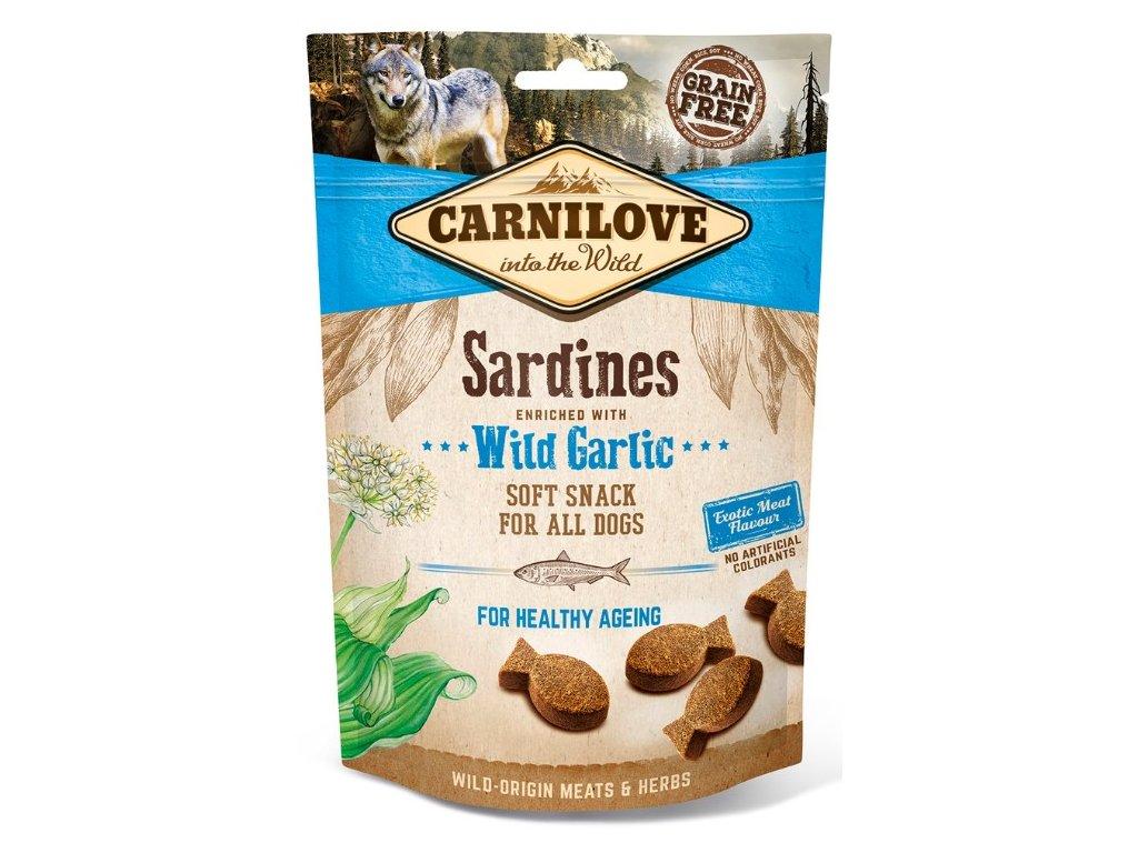 5250 carnilove dog semi moist snack sardines wild garlic 200g