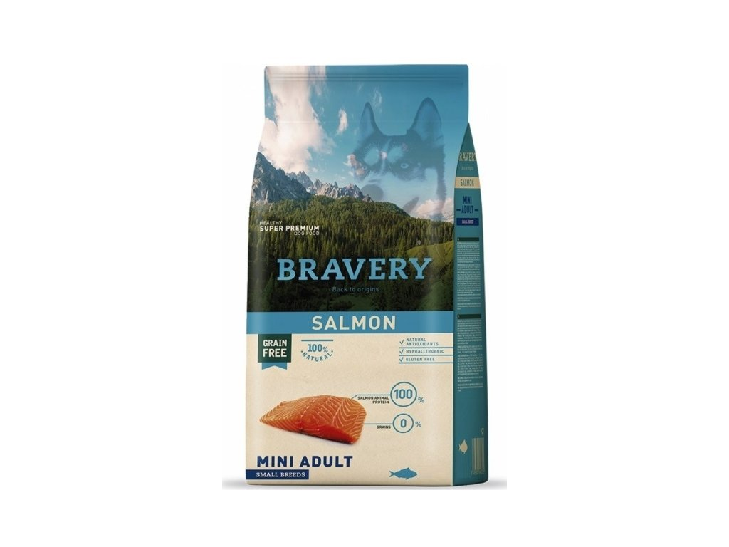 5754 bravery dog adult mini grain free salmon 2kg