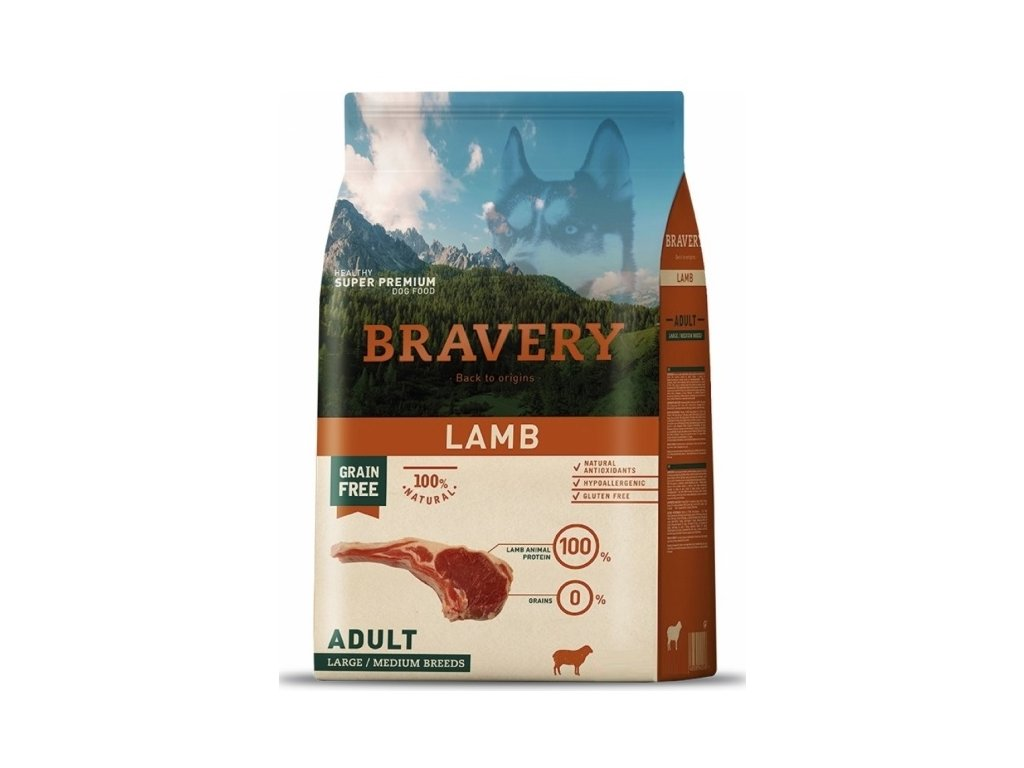 5766 bravery dog adult large medium grain free lamb 4kg