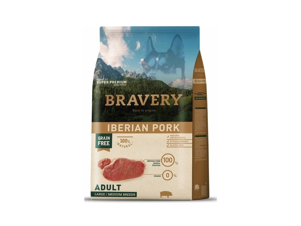 5772 bravery dog adult large medium grain free iberian pork 4kg