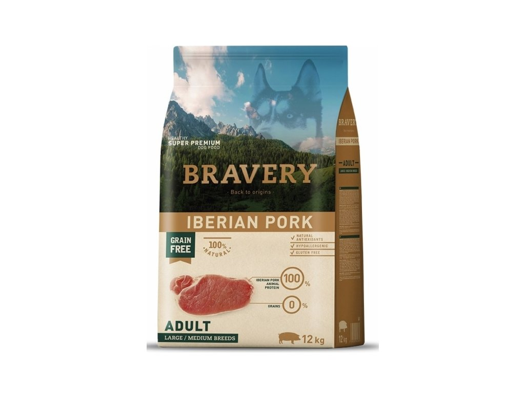 5775 bravery dog adult large medium grain free iberian pork 12kg