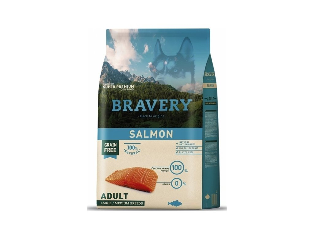 5778 bravery dog adult large medium grain free salmon 4kg