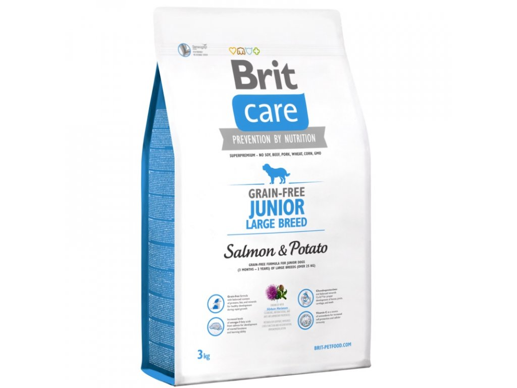 3561 new brit care grain free junior large breed salmon potato 3kg