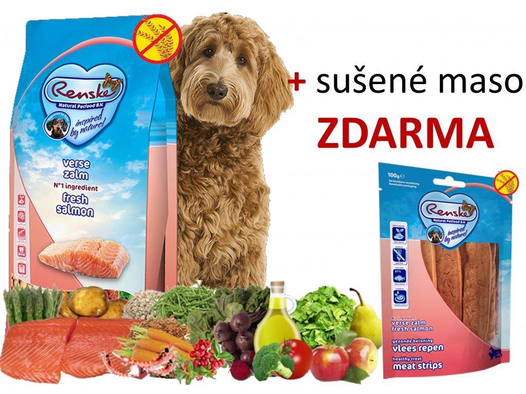 RENSKE HOLISTIC DOG ADULT LOSOS 12kg  + SUŠENÉ MASO bez GLYCERINU 100G DÁREK ZDARMA