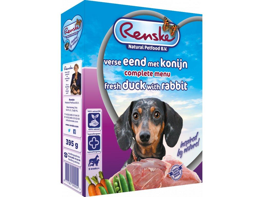 renske fresh menu dog 395g adult kachna kralik ryze