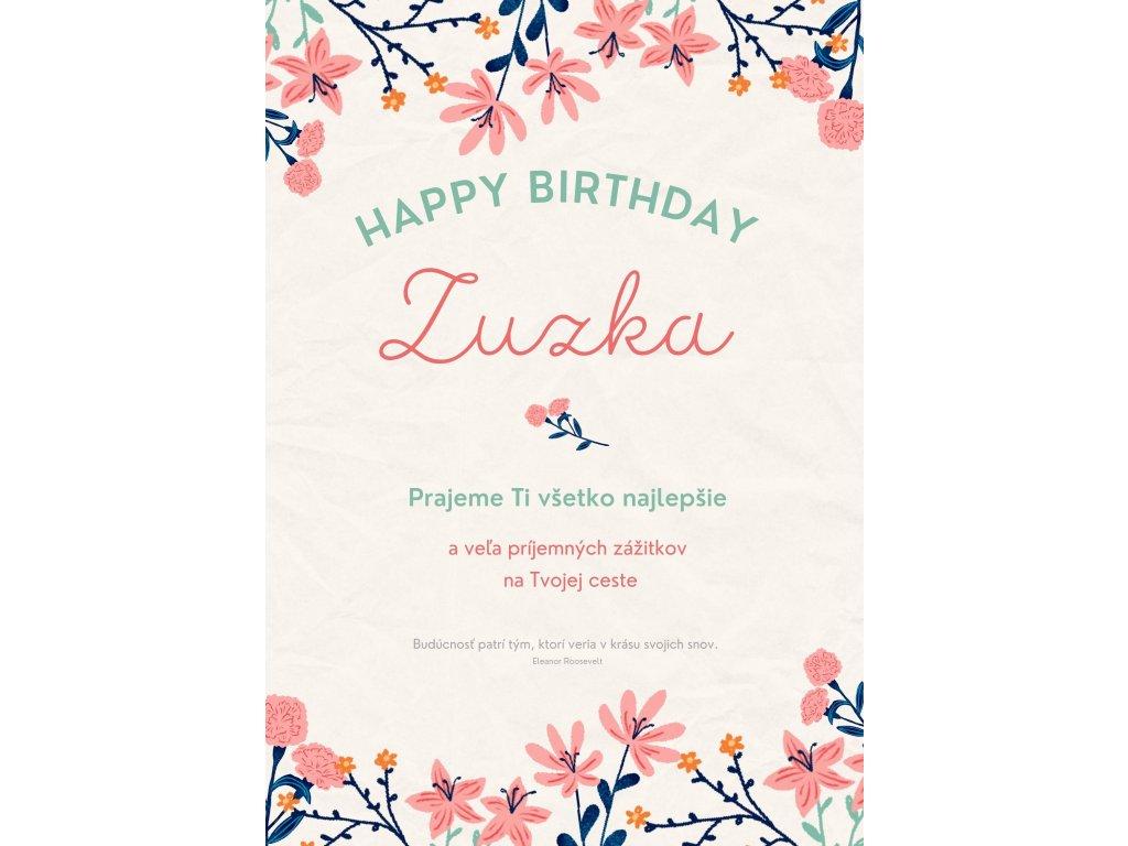 eshop blahoželannie k 50 narodeninám s citátom Zuzka 1