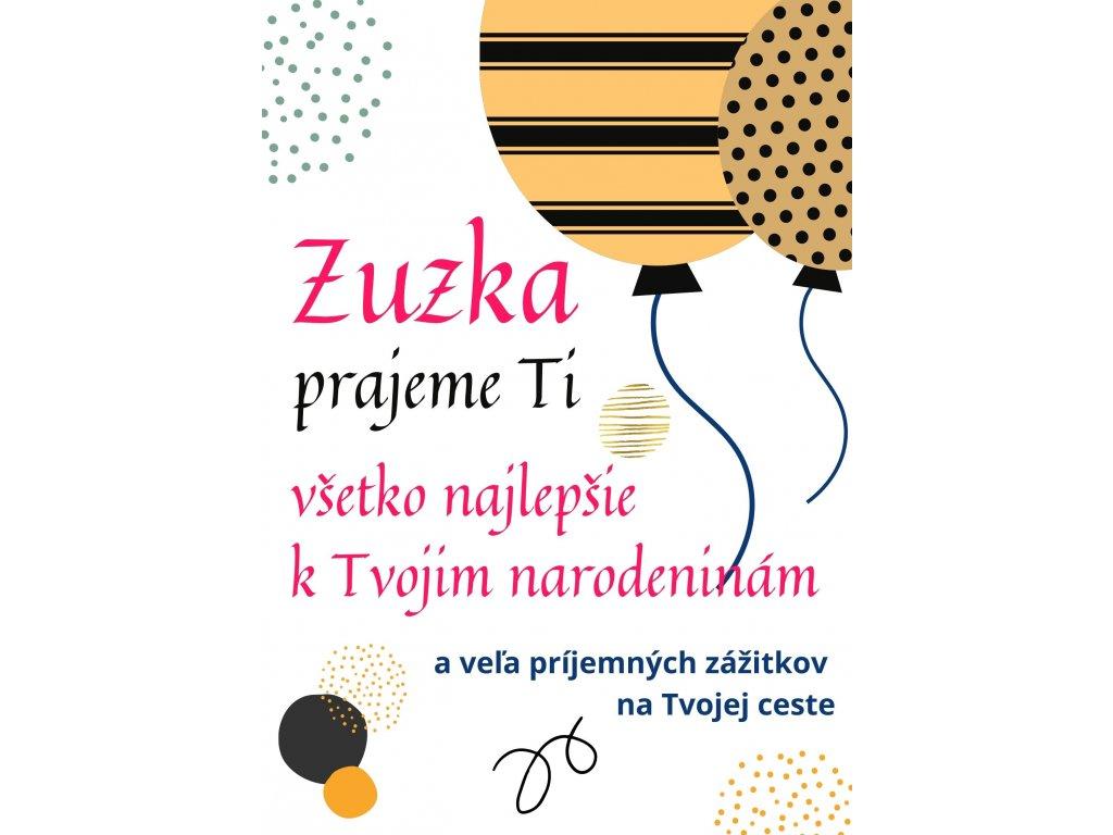 eshop blahoželanie k narodeninám balon biela Zuzka 6