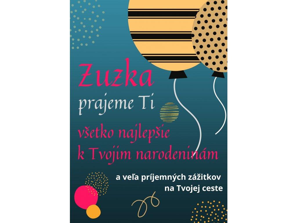 eshop blahoželanie k narodeninám balon modra Zuzka 7